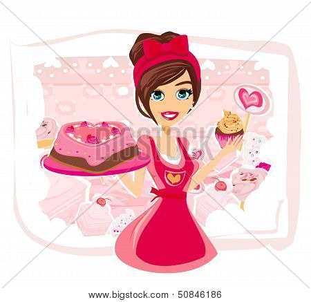 Saleswoman Serving Chocolate Cakes