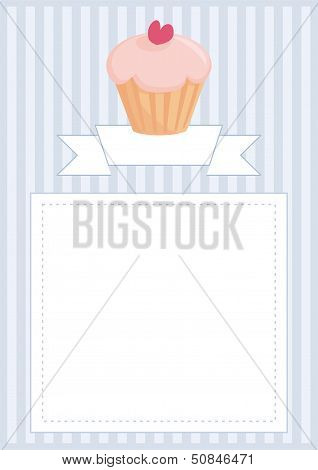 Vector document, restaurant menu, wedding card, list or baby shower invitation with sweet cupcake