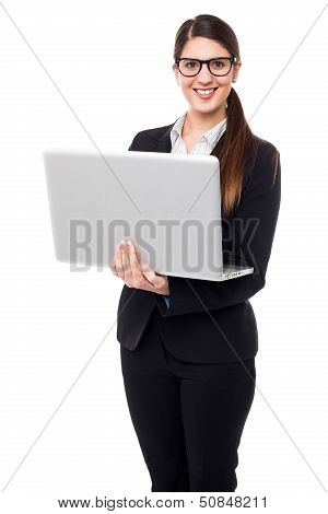 Business Lady Working On Laptop