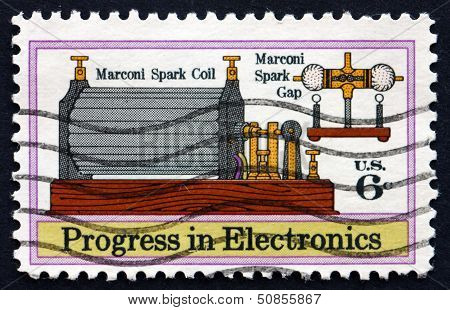 Postage Stamp Usa 1972 Marconi's Spark Coil And Gap