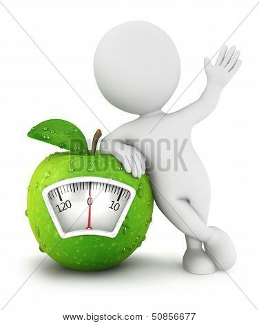 3d white people with apple scale concept