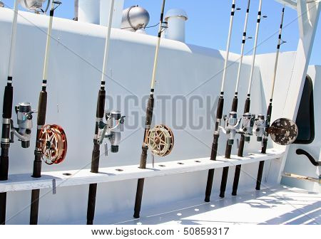 Spinning Rods Are A Fixture On The Boat Before Fishing