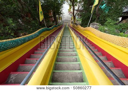 Colorful stairs in Wat tham khao noi buddhist temple, Kanchanaburi, Thailand