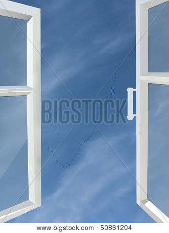 Opened Window To The Blue Sky