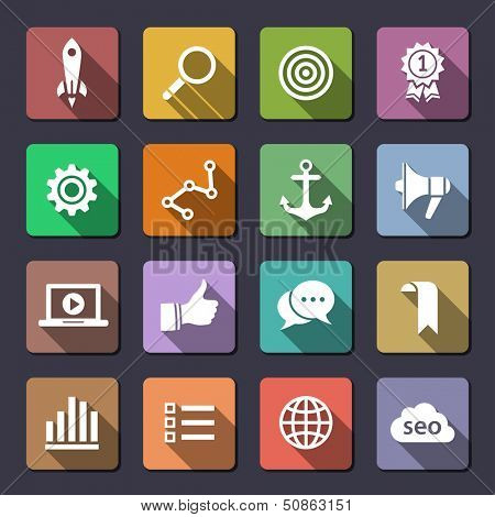 Search engine optimization, internet marketing icons. Flaticons series. Vector icons