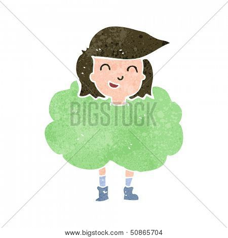 retro cartoon girl in cloud of smell