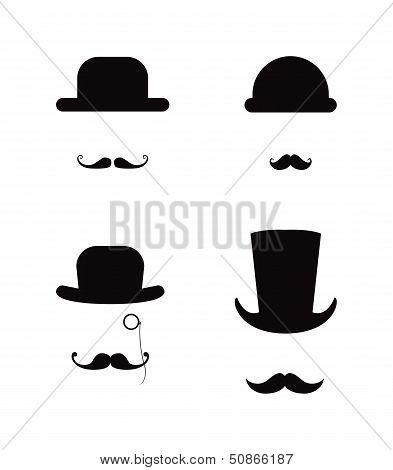 Hat and Moustache icon set