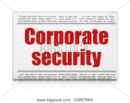 Security news concept: newspaper headline Corporate Security