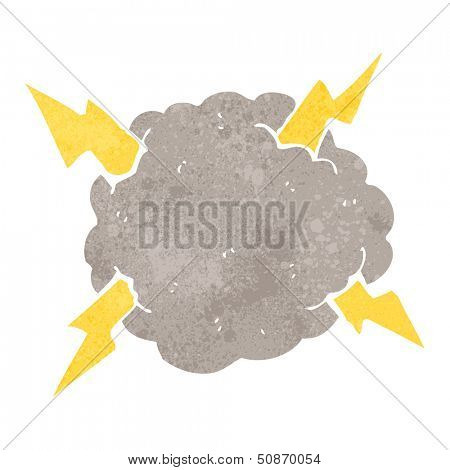 retro cartoon thundercloud