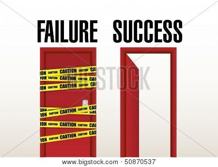 Failure And Success Doors. Illustration Design