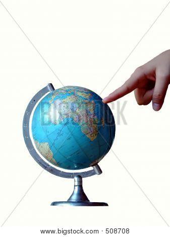Zeigen Sie auf Welt-Globe.isolated