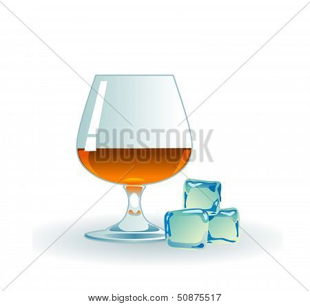Glass of whiskey with ice.