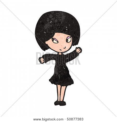 retro cartoon goth girl