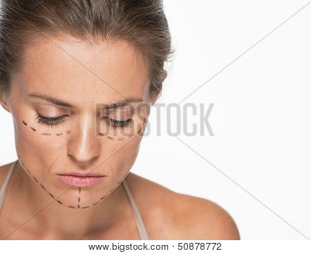 Concerned Woman With Plastic Surgery Marks On Face