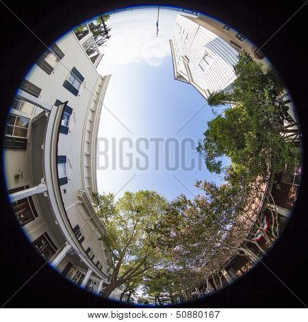 360 degree fisheye view of small town business district
