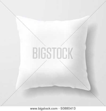 Blank white square pillow. Vector.