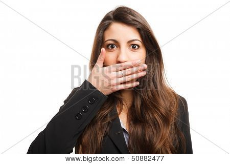 Woman shutting her mouth