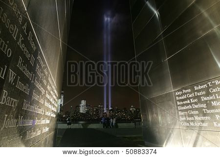 JERSEY CITY, NJ - SEPTEMBER 11: The Tribute in Light installation is seen through the Empty Sky 9/11 Memorial on September 11, 2013 in Jersey City, NJ.