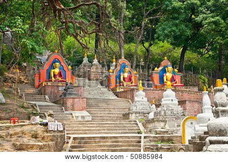 Budha statue in Swayambhunath  Monkey temple in Kathmandu, Nepal.