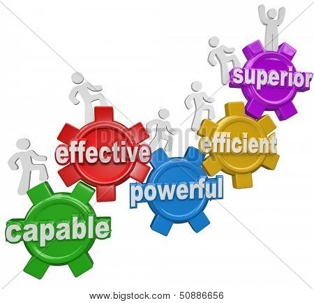 A team of people or workers climb gears containing the words Capable, Effective, Powerful, Efficient and reaching the top level or step called Superior to illustrate growth and being best
