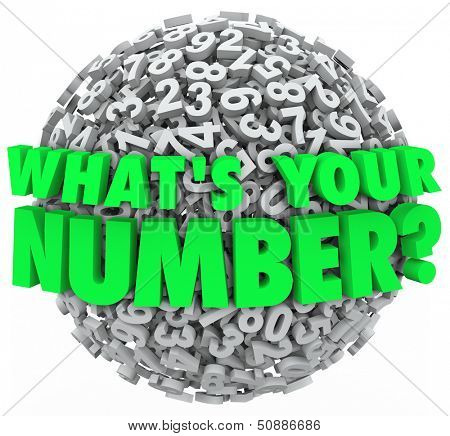 The question What's Your Number? on a sphere of numbers to illustrate your budget limit, income level, credit score or other number