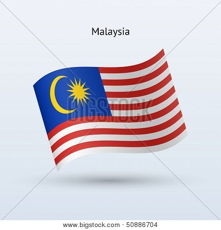 Malaysia flag waving form. Vector illustration.