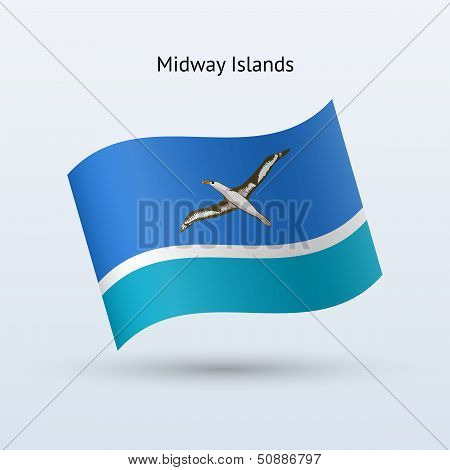 Midway Islands flag waving form.