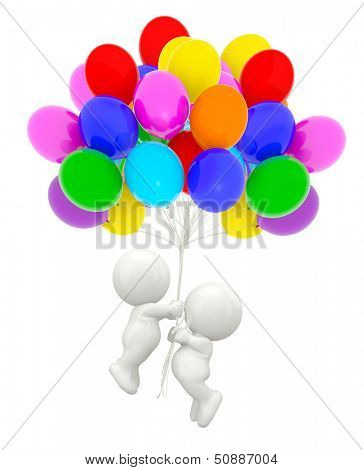 3D couple holding helium balloons - isolated over white background