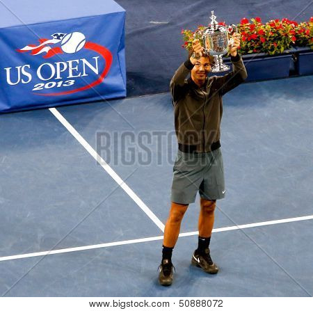 FLUSHING,NY-SEP 9: Rafael Nadal during the trophy presentation after the mens finals of the US Open at Arthur Ashe Stadium on September 9, 2013 in Flushing, NY.