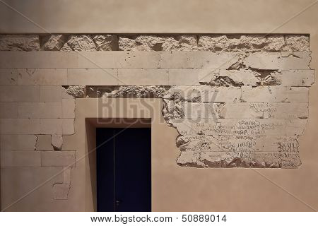 BERLIN, GERMANY - SEPTEMBER 24 : russian soldier script on a wall of Reichstag, September 24th, 2012 at Berlin, Germany. The Reichstag building was opened in 1894 and housed the Reichstag until 1933