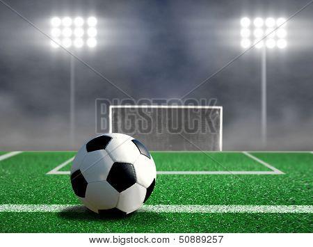 Soccer Free Kick With Spotlights And Smokes