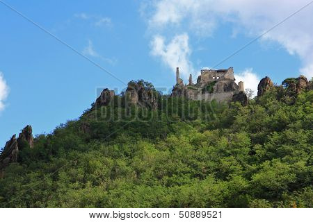 WACHAU, AUSTRIA - AUGUST, 12 : Ruins of Durnstein Castle on the rocks on August 12, 2012. It was built in the 12th century. The English King, Richard the Lionheart was captured here in 1192.