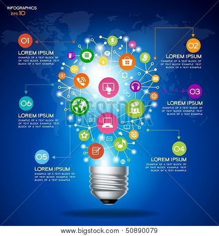 Modern infographic template. Creative light bulb with application icon. Business software and social media   concept. File is saved in AI10 EPS version. This illustration contains a transparency.