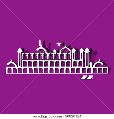 Arabic islamic calligraphy of text Eid Ul Adha or Eid Ul Azha on pink background for celebration of Muslim community festival.