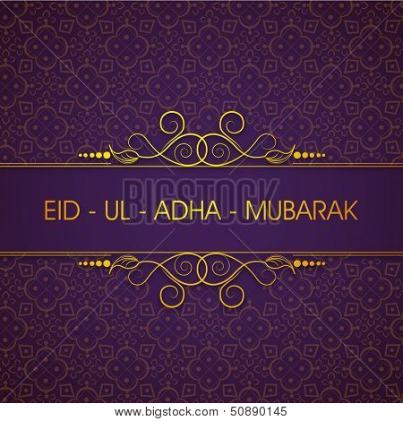 Elegant greeting card or background for celebration of Muslim community festival of sacrifice Eid Ul Adha Mubarak.