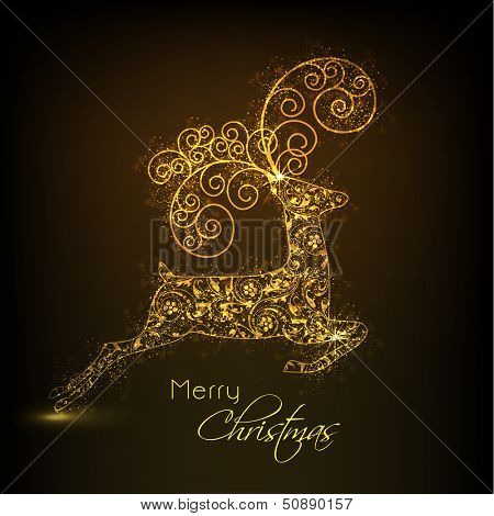 Golden floral decorated jumping Reindeer on brown background for Merry Christmas.