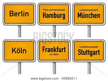 City limits signs of six major cities in Germany - Berlin, Hamburg, Munich, Cologne, Frankfurt and Stuttgart - with realistic shading and official typeface and proportions. Part 1.