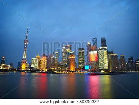 Shanghai skyscrapers. Classical view from bund
