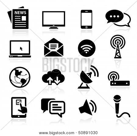 Set of icons representing media and broadcasting
