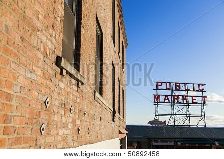 Seattle Public Market Sign, Pike Place Market, Seattle WA, USA