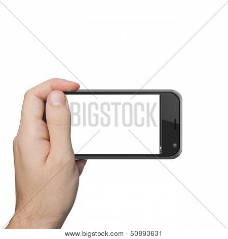 Isolated Male Hand Holding The Phone Tablet Touch
