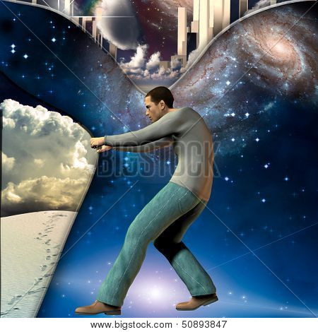 Man stretches space time to show power beneath some elements furnished by NASA