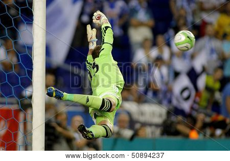 BARCELONA - SEPT, 5: Adrian San Miguel of West Ham United in action during a friendly match against RCD Espanyol at the Estadi Cornella on September 5, 2013 in Barcelona, Spain