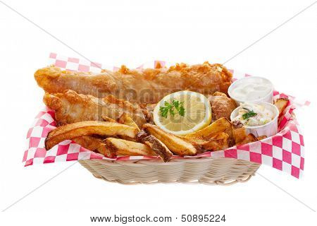 Traditional fish and chips on a white background.