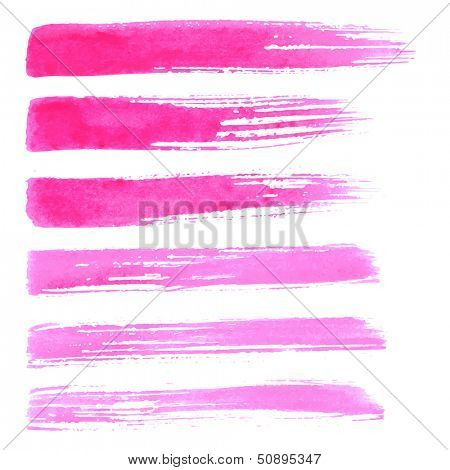 Watercolor paint brush strokes. Paint brush texture pink red watercolor spot blotch isolated on white background.