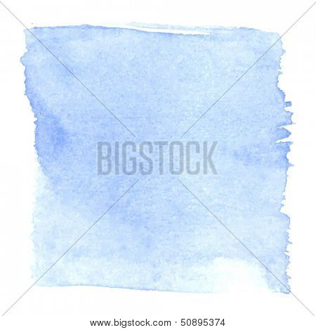 Abstract watercolor art hand paint isolated on white background. Watercolor stains. Square blue watercolor banner