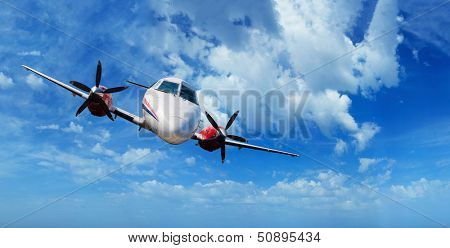 Private airplane inflight in the sky