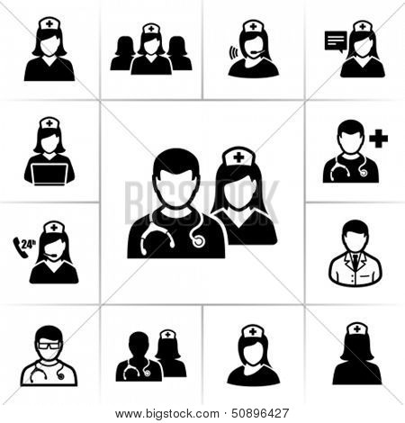 Ícones de enfermeiros