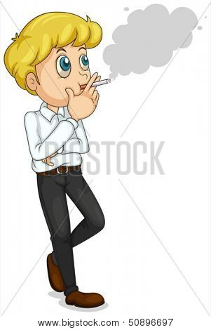 Illustration of a businessman smoking on a white background