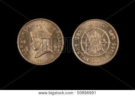 Old Half Rupee From Bhutan